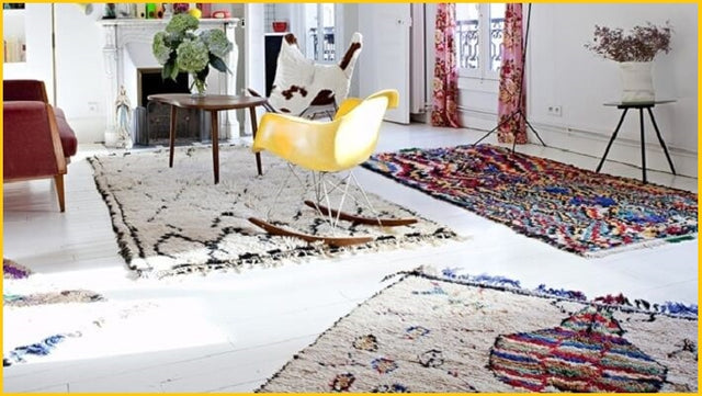 Decorative Moroccan berber rugs in living room