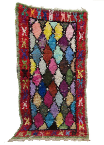 Moroccan Boucherouite Multi colour area rug 81X39 inches- 205X100cm