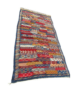Moroccan small Tribal blue carpet area blue Rug 78X39 inch