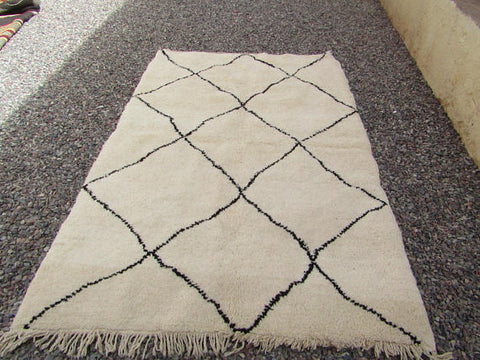 Rug-Berber Tribal beige Color Hand woved Moroccan Rug 205X136cm