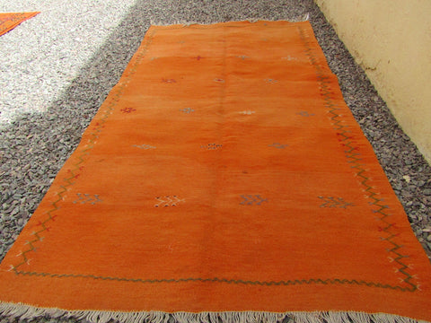 Rug-Small Vintage Tribal berber Orange Color Rug 198X109 cm