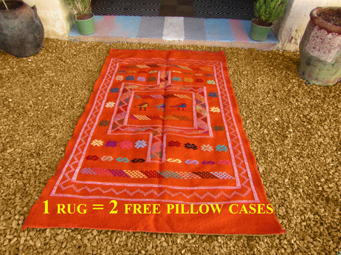 Moroccan rug, orange moroccan carpet