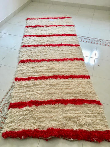 Fur striped handmade rag rug from Morocco, recycled threads handmade rug