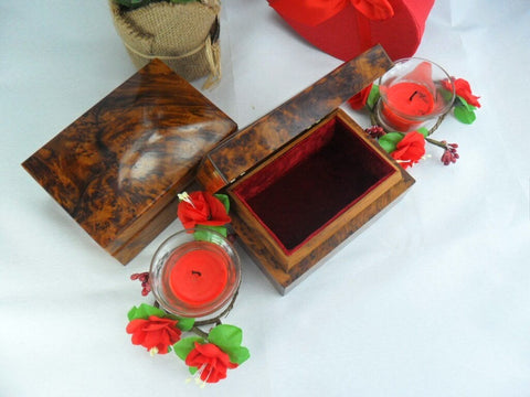 Luxurious Set of 2 Small dressed jewelry thuya cedar wooden boxes Gift , thuya burl wooden storage from Morocco for little accessories
