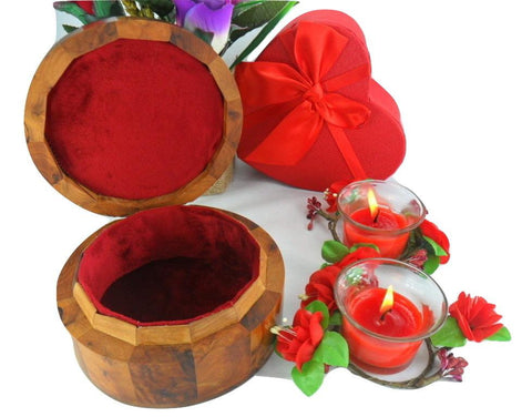 Red Velvet Lined Jewelry thuya wooden storage box from Morocco