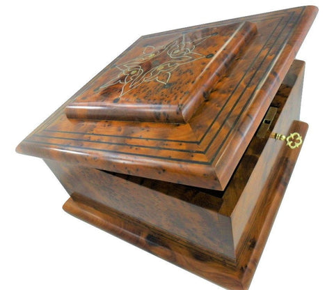 Jewelry organizer thuya wooden box Gift, jewellery floral patterns storage, decorative lid Lockable square shaped thuya mirror is inlaid