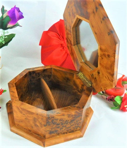 Wooden Jewelry box, keepsake handmade thuya octagonal wood gift box for christmas from Morocco with inlaid mirror inside