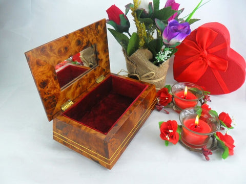 Decorative thuya burl wooden jewelry holder box with inlaid mirror, red velvet lining interior memory wedding gift box for her