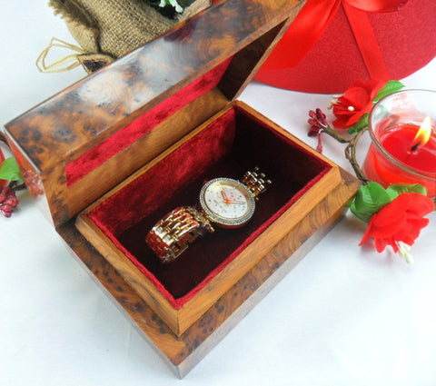 Luxurious Small interior red velvet Jewelry wooden watch box Gift, lined dressed cedar thuya burl wooden box.