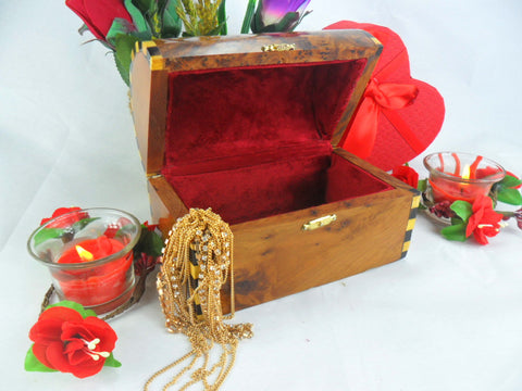Luxurious small Jewelry wooden box Gift, Thuya burl wooden Mexican coffer, handmade product from Morocco