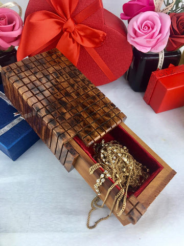 Red velvet Magic Thuya burl Wooden puzzle Lock box, Hand carved Secret Jewellery storage, Dressed and lined Hidden opening system box