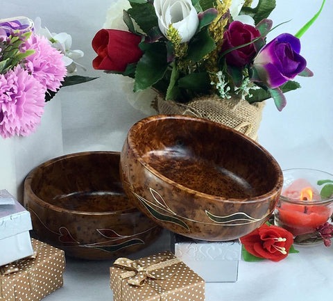 Set of two decorative bowl thuya wooden bowl plate from Morocco, Exotic burl wood Small Kitchen decorative bowl