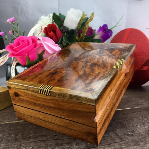 Keepsake Thuya wooden box, handmade Carved jewellery organizer storage box from Morocco