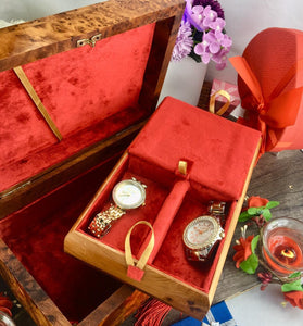 Handmade Decorative red velvet lined Jewelry organizer Thuya wooden storage box from Morocco, Vintage style organizer gift for men/women