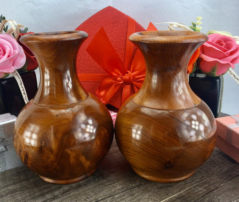 Set of two decorative handmade thuya wooden flower vase from Morocco