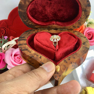 Antique Victorian Style Ring Box, Valentine Gift thuya wooden Heart shaped Box, Engagement gift for women, Bridesmaid proposals