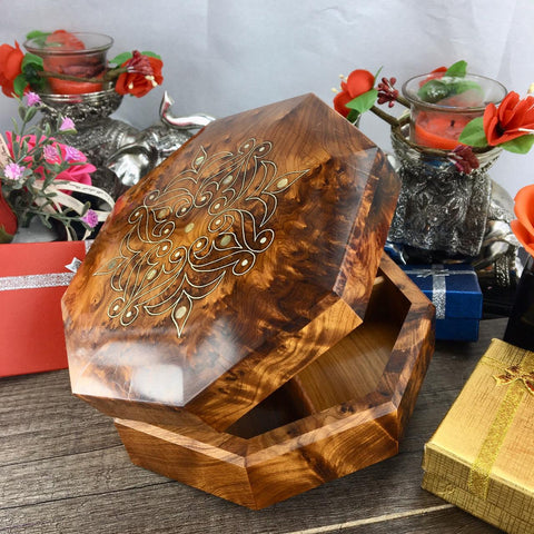 Earrings necklace storage Thuya wood Jewelry small Memory box, octagon shaped burl wooden jewelry box, wedding gift box for her