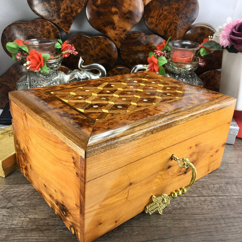 Decorative hand carved handmade Thuya Wooden Jewelry box, Mosaic patterns handcrafted box with mother of perls inlaid in its lid