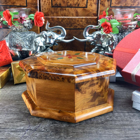 Wooden Jewelry handmade Box Storage Ring Necklace Earring Organizer Jewellery Container, engraved thuya wooden octagon shaped box