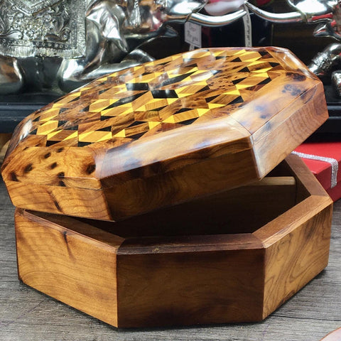 Hand carved Mosaic patterns octagon shaped thuya wooden jewelry box from Morocco, inlaid orange tree root