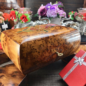 Decorative thuya burl wooden jewelry organizer holder box, keepsake wooden box, memory wedding gift box for her