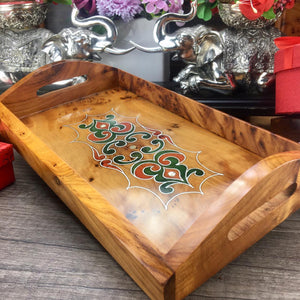 Decorative Wood Serving Tray with Handles - Housewarming Gift, Wedding Gift, Anniversary Gift, Handmade Gift