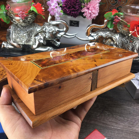 Highly aromatic Morrocan Thuya Burl Turning box, Black velvet Lined Jewelry Secret storage , Turning wonders wooden box from morocco
