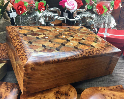 Keepsake Thuya burl Wooden jewelry Personalized Box jewelry holder, memory hand carved engraved box, gift Box for Men, mens Gift for Husband