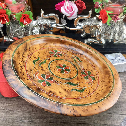 Decorative Thuya wooden dish plate, handmade ketchen floral pattern dish from Morocco