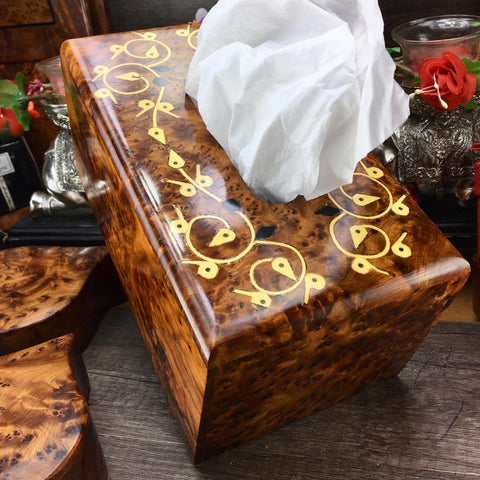 Decorative floral patterns burl thuya Wooden tissue box cover, birthday gift box, Engraved hand carved wood kleenex tissues paper holder