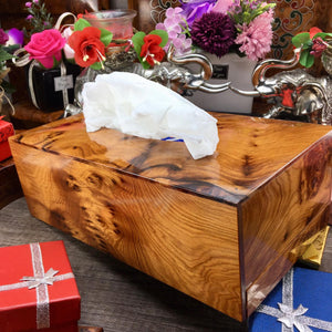Handmade Carved Wooden tissue holder box cover, handcrafted exotic thuya tissues paper box from Morocco