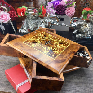 Engraved Thuya wooden turning box gift , secret opening aromatic thuya wood storage puzzle box with four drawers from Morocco