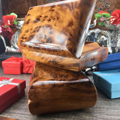Set of two decorative handmade Small burl tuya Wooden jewelry Boxes, memory jewelry gift boxes earrings and ring storage gift for her