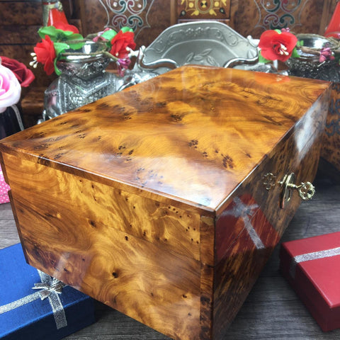 Keepsake box Thuya wooden jewelry box with hinged lid memory jewelry holder gift box, new year gift for her