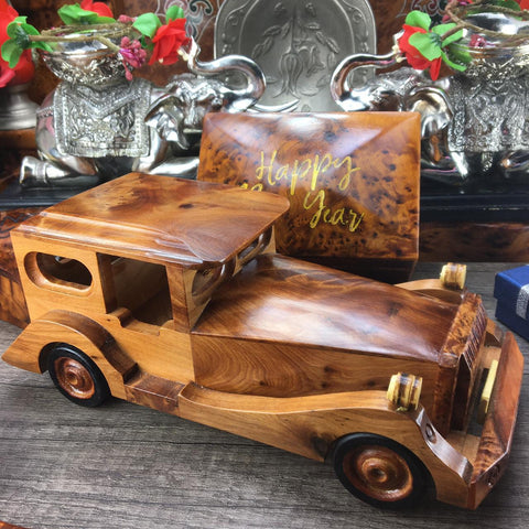 Memory hand carved thuya burl wooden classic car miniature, Small collectible car decor, collection miniature car, gift for husband