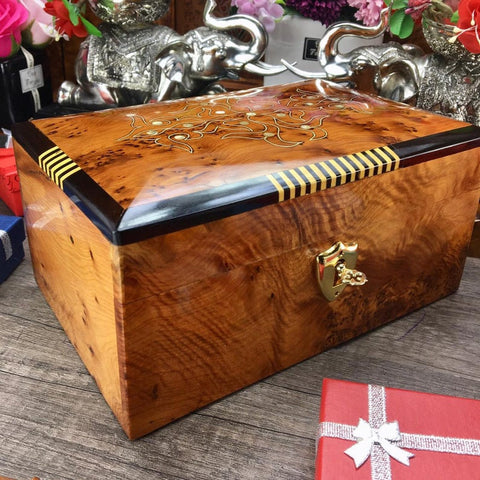 Large Hand carved jewelry organizer engraved wooden box, burl thuya wooden jewelry box, wedding gift box for her