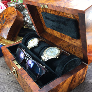 Decorative Watch thuya wooden box, Black velvet lined Watch holder for 2 watches Bracelet & 01 pair of glasses, mens gift box