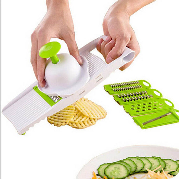 OUOH Mandoline Slicer Vegetables Cutter with 5 Stainless Steel Blade Carrot Grater Onion Dicer Slicer Kitchen Accessories
