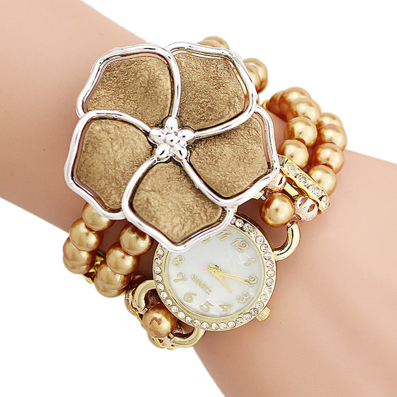 Personalized Flowers Pearl Wrapped Bracelet Watch Ladies Fashion Watch