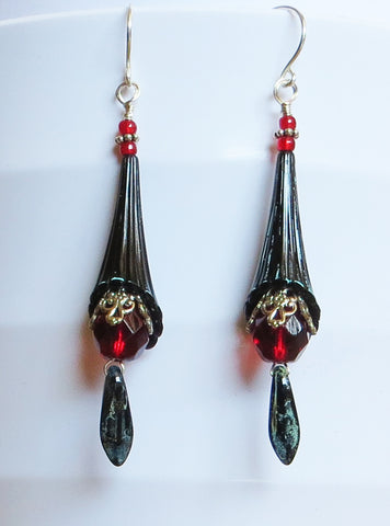 Blood Moon Trumpet Earrings