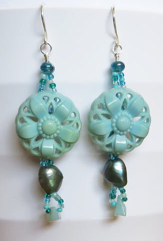 Teal Lace Earrings