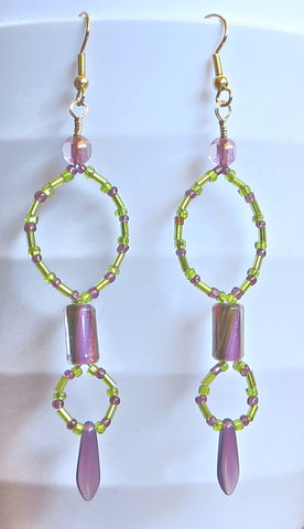 Chartreuse and Mauve Earrings