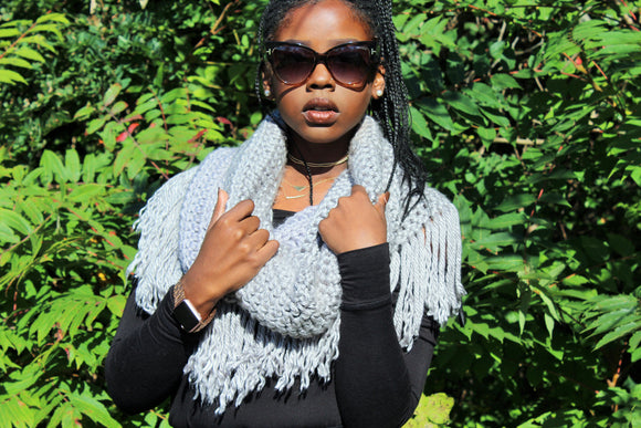 Heather Grey Super Fringed Hooded Cowl