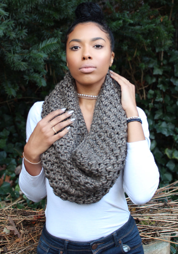 Chocolate Tweed Hooded Cowl
