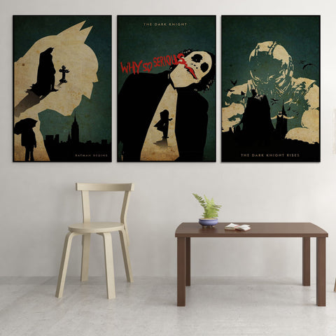 The Dark Knight Trilogy Poster Style - 3 Piece Canvas