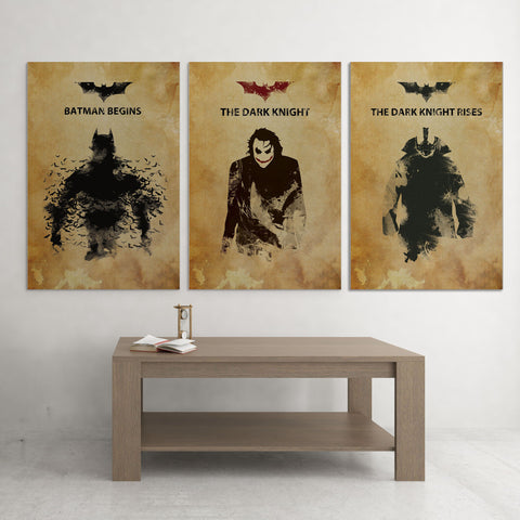 The Dark Knight Trilogy Grange Style Posters - 3 Piece Canvas