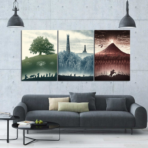 The Lord of The Rings Trilogy - 3 Piece Canvas