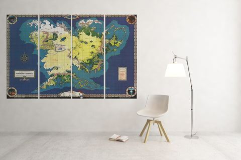 Map of Middle Earth - 4 Piece Canvas