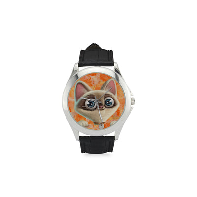 Kitten Lilly Orange Damask Women's Classic Leather Strap Watch