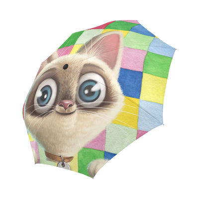 Kitten Lilly Checkered Automatic Foldable Umbrella